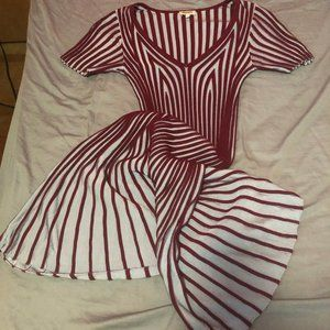 Kenzo Striped Flared Dress in Blue and Red